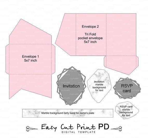 Geometric Set Of Tri Fold Pocket Envelope 5x7 Wedding Etsy Pocket Wedding Invitations Pocket Fold Wedding Invitations Wedding Invitations Rsvp