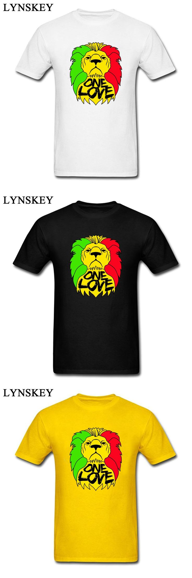 One Love Rasta Men's Pure Cotton O-Neck Casual Tops T Shirt Gold King Lion 2018 Latest Hip Hop Street Fashion T Shirts