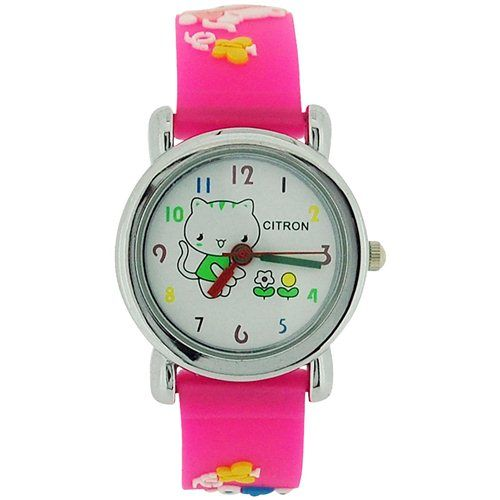 Citron Analogue Girls - Kids Kitty with Flowers Pink Silicone Strap Watch KID44