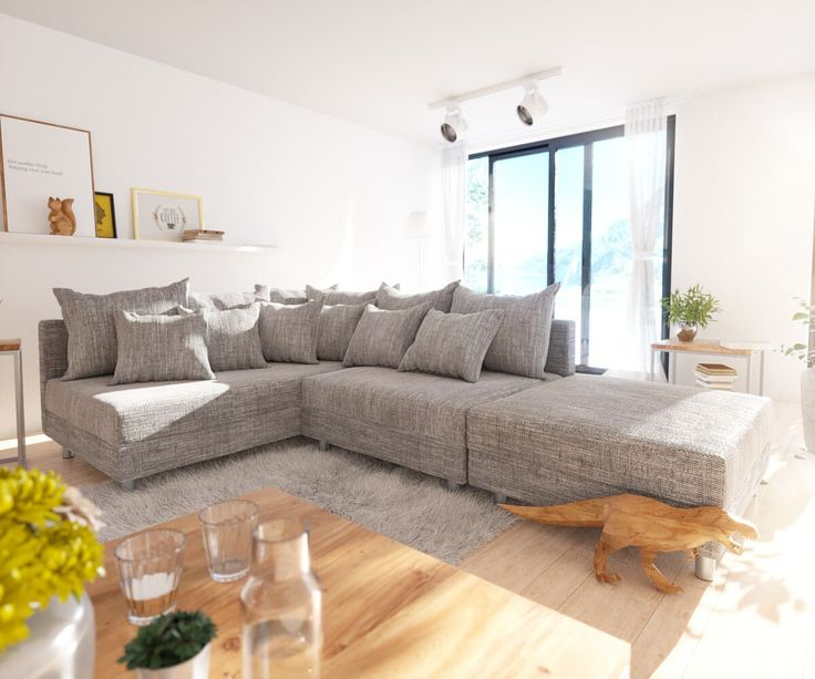DELIFE Ecksofa Clovis Hellgrau Strukturstoff Hocker Ottomane Links  Modulsofa, Design Ecksofas, Couch Loft,