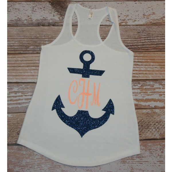 Anchor Monogram Shirt Anchor Tank Top Personalized Shirt Owl the... ($22) ❤ liked on Polyvore featuring tops, tanks, white, women's clothing, white singlet, glitter tank top, neon tank top, white tank top and neon shirts