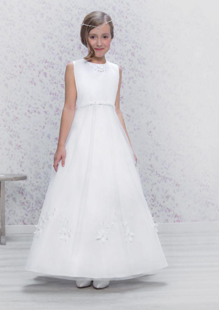 Emmerling First Communion Dress 70173 - New 2016 - White Satin Tulle A-line Communion Dress - Sleeveless and Full Length - Girls Communion Dress Shop