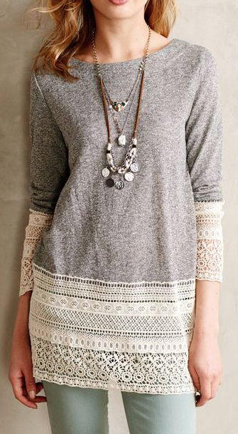 Sunday in Brooklyn Recessed Lace Sweatshirt