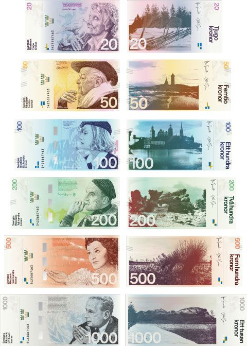 The Swedish National Bank held a contest to redesign its money and has announced a winner. Shown: One of eight finalists, Stockholm Design Lab's proposal.