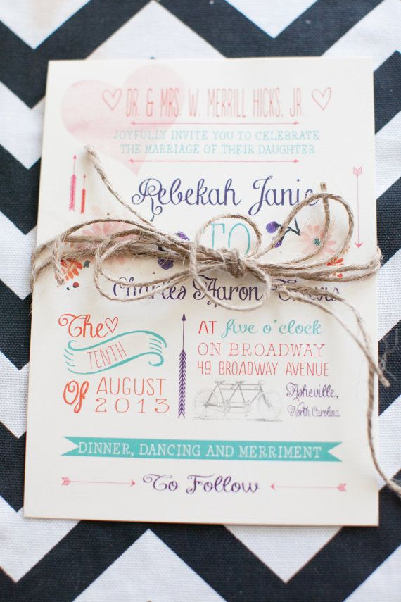 Whimsical Watercolor Flower And Bicycle Wedding Invitation