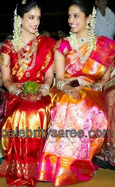 multi color traditional uppada silk bridal sarees with gold border and gold woven work all over saree with rich pallu paired with matching designer short sleeves silk saree blouse.