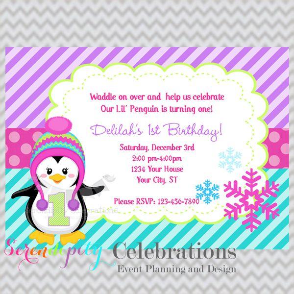 35 best becca birthdays invites images on pinterest invitations colorful penguin birthday invitation filmwisefo Choice Image