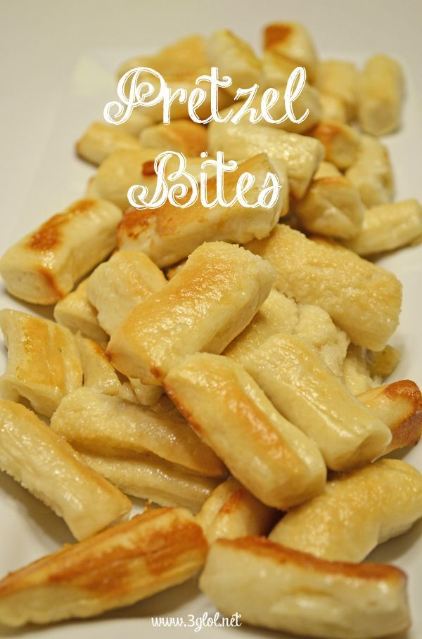 Pretzel Bites. Homemade dough recipe to make pretzels or pretzel bites.  Kid friendly, great appetizer and awesome for dipping. www.3glol.net