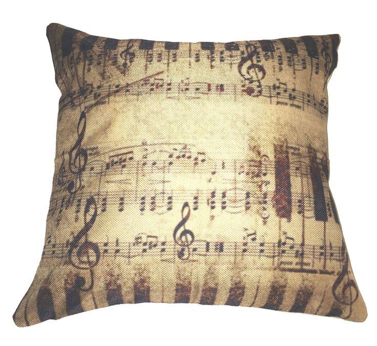 Rustic Sheet Music 100% Cotton Throw Pillow