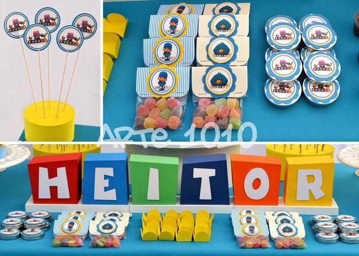 Pocoyo e sua turma festejaram com o Heitor! Para a cenografia, os personagens foram feitos em papel e o nome do aniversariante ...