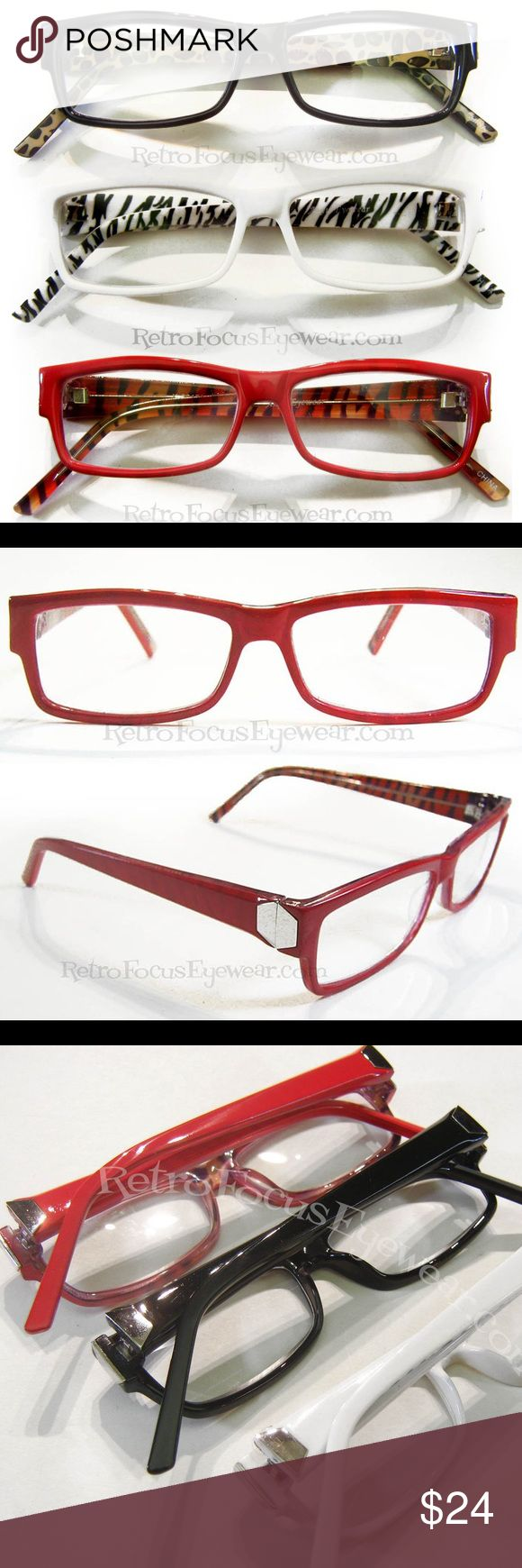 "3pr Reading Glasses Quality Animal Print White Red Best Buy @3 pairs for $24. Quality NEW reading glasses offered in sets of 3 of the same strengthPRICE is FIRMFrame width 5 1/4"" suits average sized oval, oblong, square or rectangular face. Animal print on the inside, color on the outside w silver tone triangles at hinges. Nice prescription friendly better plastic frames that you won't find in your neighborhood store or online. Every order comes w a cleaning cloth. 20%discount off bundles of…"
