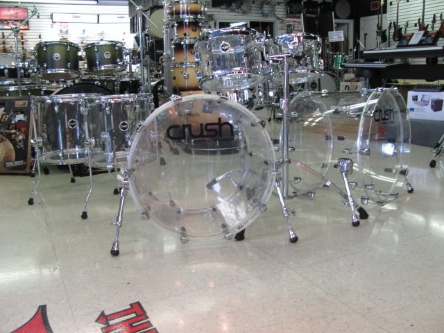 electric Drum Sets For Sale   Crush Drum Set Acrylic Clear 7 PC Double Bass Kit Drummersuperstore ...