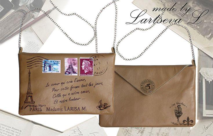 Купить Клатч-конверт на тему Парижа - натуральная кожа, клатч-конверт, конверт, под старину
