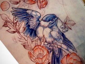 Эскиз птицы с цветами и ягодами