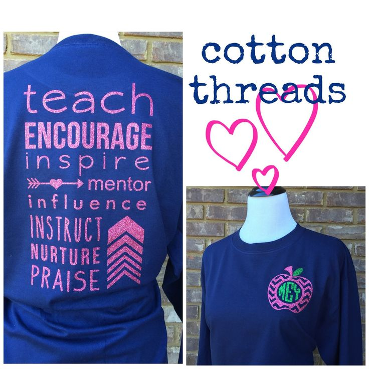 Monogrammed Chevron Apple Teacher Long Sleeve T-shirt by CottonThreadsShirtCO on Etsy