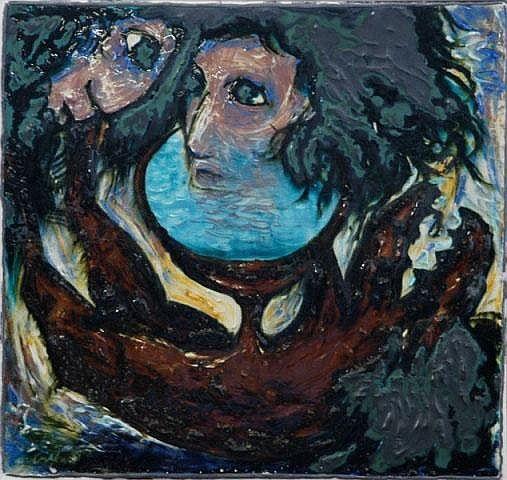 BOYD, Arthur (1920-1999) Lovers & Red Dog. Signed Glazed ceramic tile. Probably 1950-52.