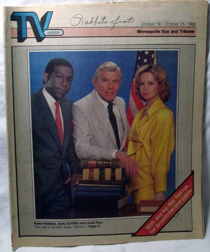 TV Week Local Guide 10 19 1986 Andy Griffith Linda Purl | eBay