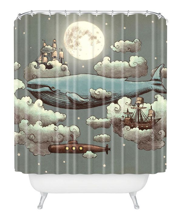 Whale shower curtain, sailing in the sky ocean theme steampunk modern Custom made Ocean Meets Sky Shower Curtain on #zulily today!