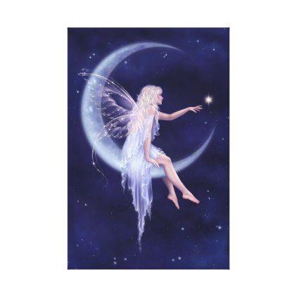Birth of a Star Moon Fairy Stretched Canvas Print - blue gifts style giftidea diy cyo