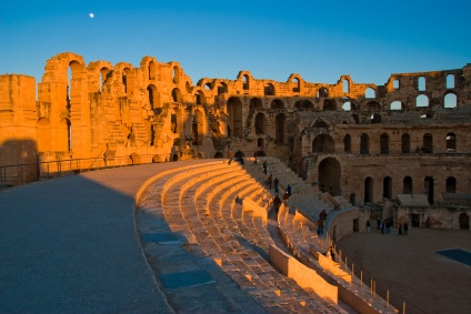 """Amphitheatre of El Jem, Tunisia - The Amphitheatre of El Jem, built during the 3rd century, is North Africa's largest coliseum with a capacity of 35,000 spectators, and """"illustrates the grandeur and extent of Imperial Rome."""""""