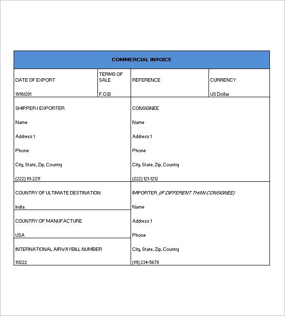 16 Commercial Invoice Templates Invoice Template Invoice