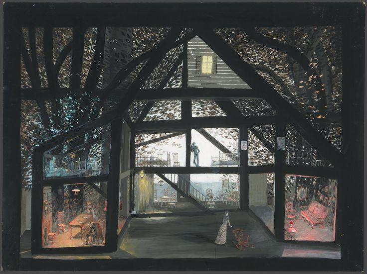 S.Barkhin. 1976   СЕРГЕЙ БАРХИН. СПЕКТАКЛЬ «ЛЮБОВЬ ПОД ВЯЗАМИ» Ю. О'НИЛА. 1976 г. Эскизы костюмов. бумага, акварель, гуашь. 55 х 34 см. Собственность Третьяковской галереи.