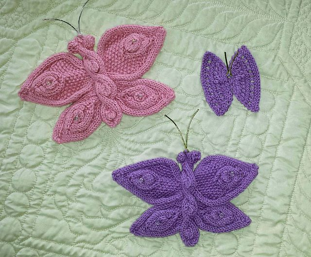 Knitting Pattern Butterfly : Knitted flowers and butterflies pattern by mypicot