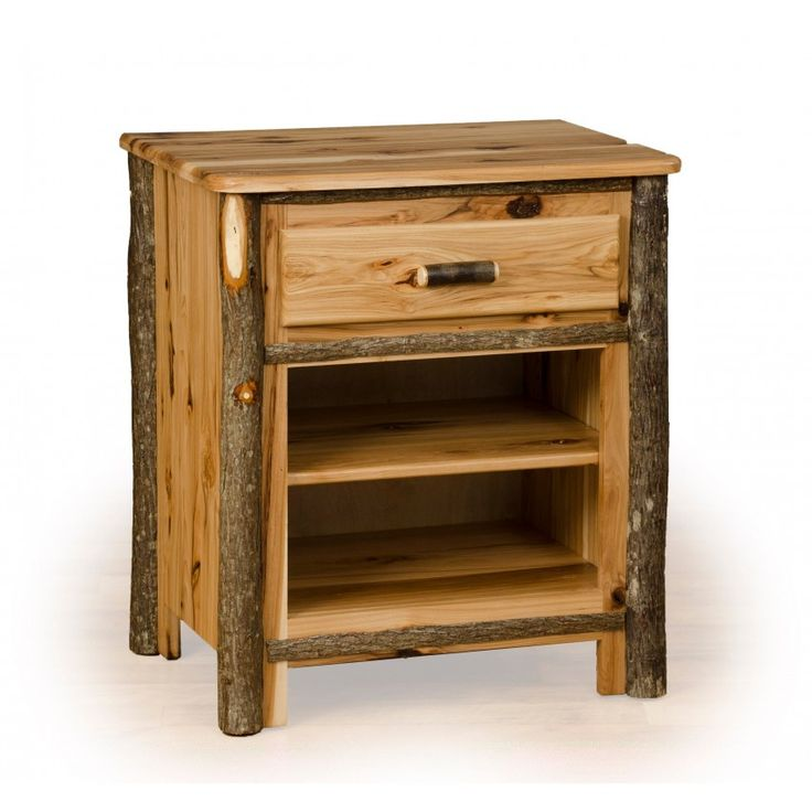 Adorable Rustic Oak Nightstand With 1 Drawer