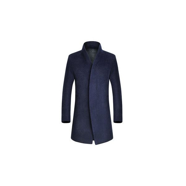 Wool Business Casual Overcoat (€50) ❤ liked on Polyvore featuring men's fashion, men's clothing, men's outerwear, men's coats, navy, mens wool outerwear, mens navy coat, men's navy wool coat, mens fur collar coat and mens wool coat