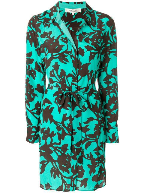 Shop Dvf Diane Von Furstenberg floral print shirt dress.