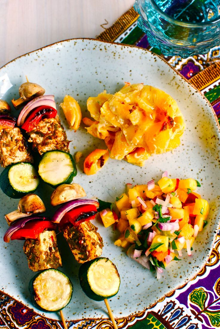 jerk paneer & vegetable kebabs