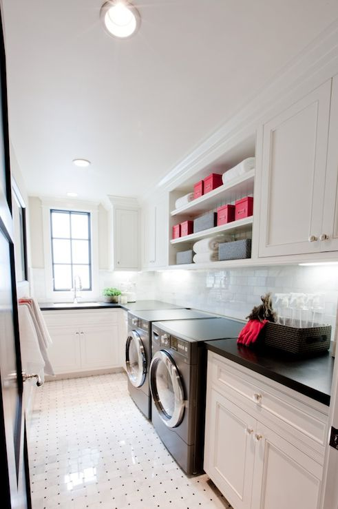 Long and narrow laundry room just like the one we'll have. Smart configuration!