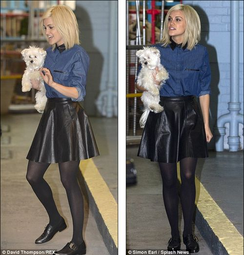 Ashley Roberts, the former Pussycat Doll in Manitic's leather skirt, arrived at ITV studios in London.
