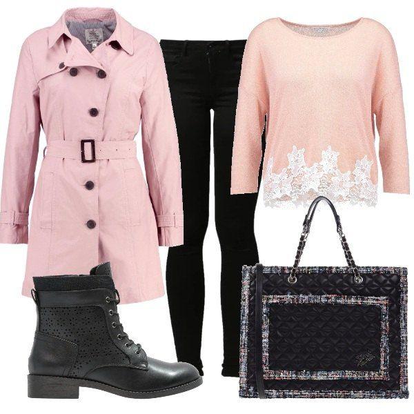 Un outfit estremamente comodo e delicato. Il trench, must have di stagione, qui è di colore rosa ed è indossato con il jeans skinny in nero ed il maglioncino leggero con inserti in pizzo. Completano il look un paio di stivaletti neri con lacci ed una shopping bag in similpelle nera.
