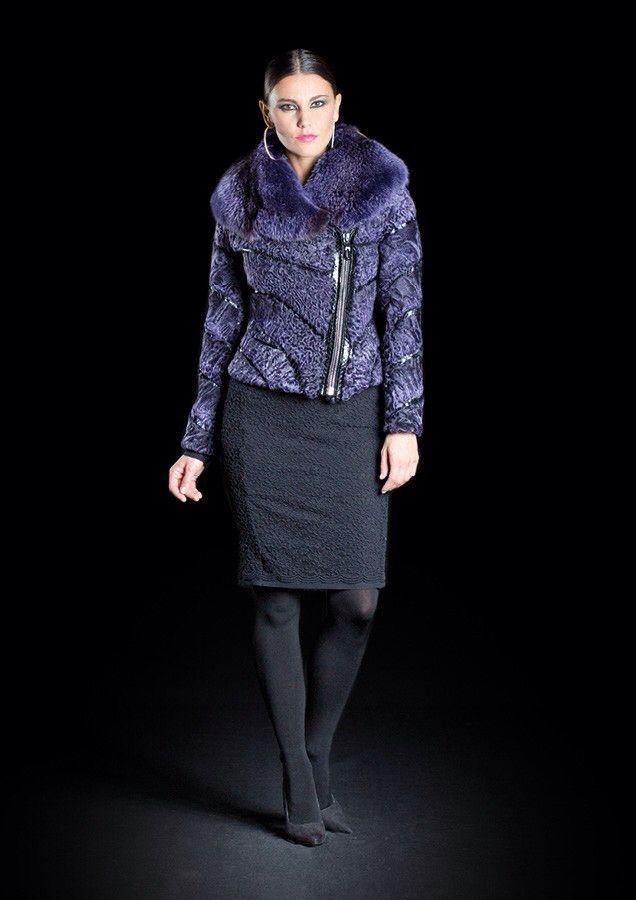 Dyed Swakara Lamb and Fox Fur Jacket