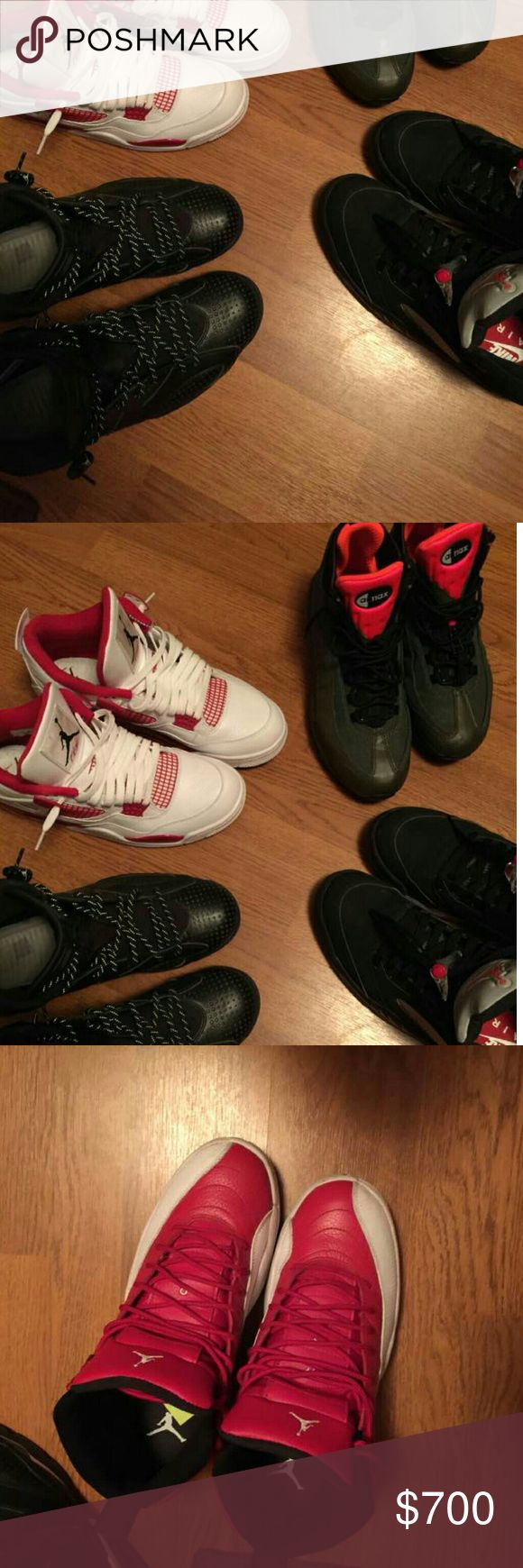 Jordans I have Gym red 12's Mettalic silver 5's Black Cat 6's Alternate 4's and 95 Airmax boot they are size 10 &10.5 I looking for trades for foamposites and Kobes but I'll accept other offers any questions feel free to text my number In the picture Jordan Shoes Sneakers