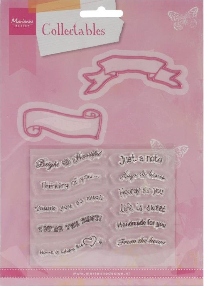 Marianne Designs - Collectable Die's With Stamps - Banners & Everyday Text