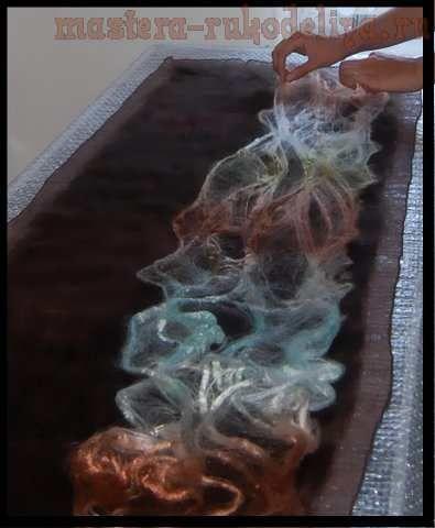 Мастер-класс по мокрому валянию: Шарф в техниках нуновойлок и армирование