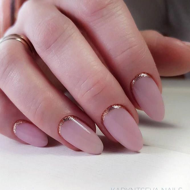 Nude Matte Nails With Glitter Reverse French Art #reversefrench #nudenails #make…
