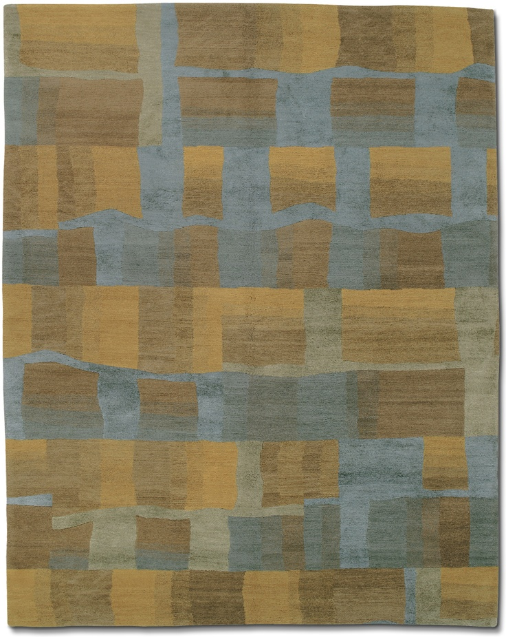 Eva H Azure area carpets & rugs - modern traditional custom-  look at room scene to get idea how blue and gold will work!