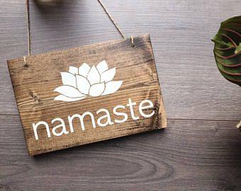 Namaste Hanging Sign, Yogi Sign, Yoga Sign, Namaste Sign, Yoga Decor, Yoga Studio Decor, Yogi Decor, Meditation Room Decor, Wooden Wall Art