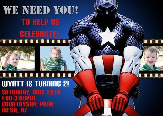 Captain America Film Strip Birthday Invitation by Sassygfx on Etsy, $15.00