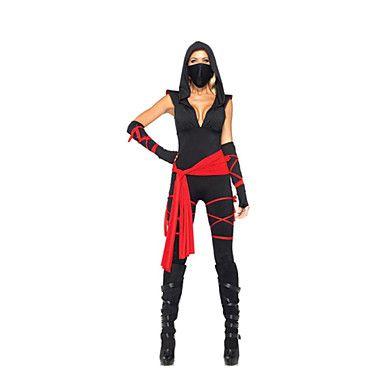 Cosplay Kostumer / Party-kostyme Ninja Halloween Kostumer Svart Fargeblokk Hansker / Belte / Mer Tilbehør / Catsuit Halloween / Karneval 1149453 2016 – kr.175
