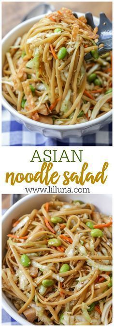 Asian Noodle Salad - coleslaw, linguine, chicken, and fried wonton strips covered in a delicious homemade Asian dressing!