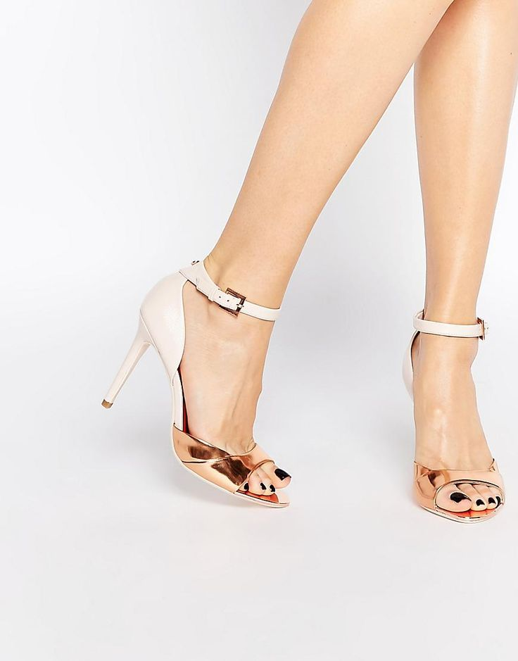 Ted Baker | Ted Baker Camiyl Rose Gold Two Part Sandals at ASOS