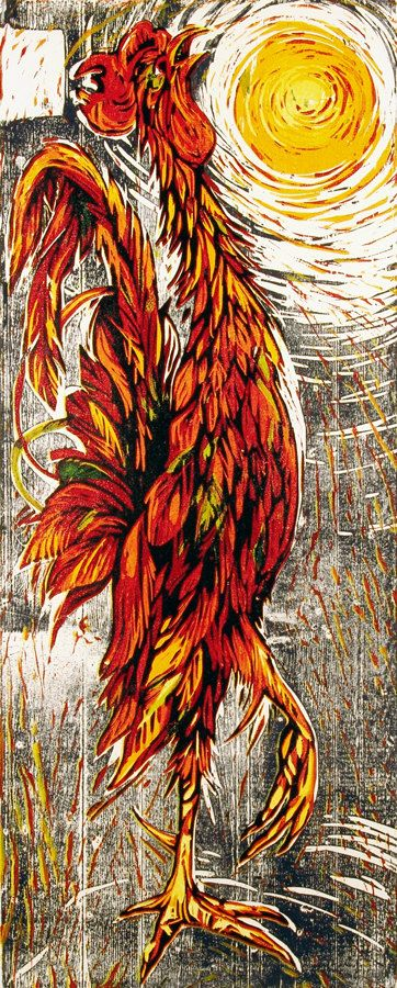 Goliath, Rhode Island Red Rooster Reduction Woodblock Print  Paul Sinclair
