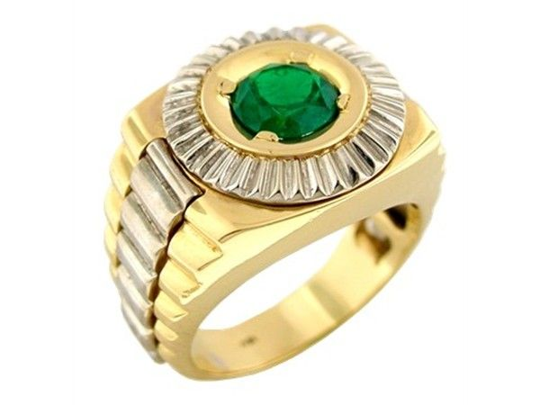 White and yellow gold men's ring with 0.90 Ct. round cut natural emerald