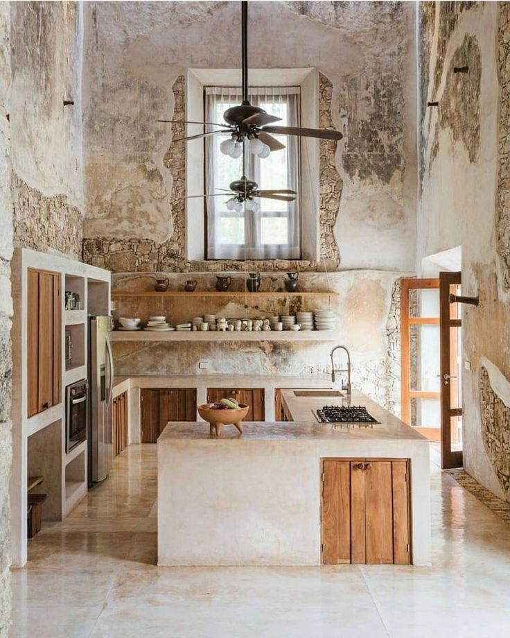 NO words, how great that is. Kitchen, neutral, raw, rustic, modern, European