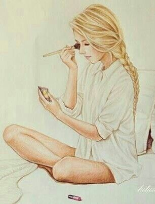Woman | drawing | blond | make-up