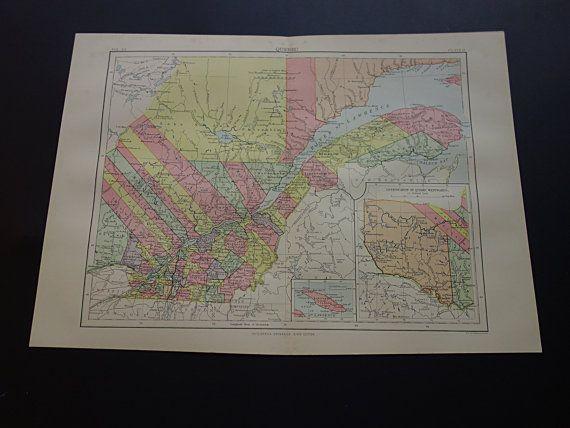 QUEBEC antique map  1886 original old large by DecorativePrints
